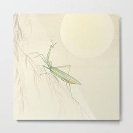 Minimal Art Praying Mantis And The Sun Metal Print