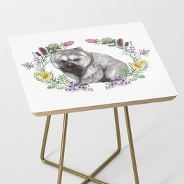 Wombat in Floral Wreath Side Table