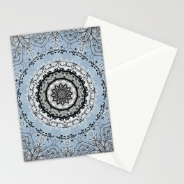 Leafless branches against winter sky mandala Stationery Cards