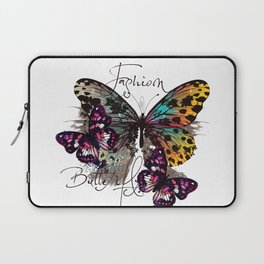 Fashion art print with colorful tropical butterly Laptop Sleeve