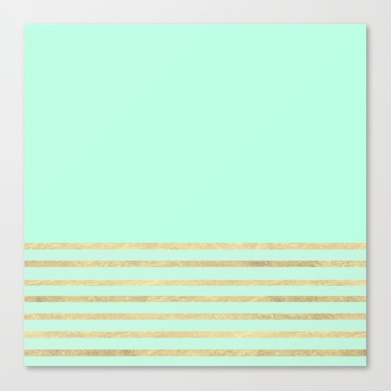 Mint and Gold stripes Canvas Print