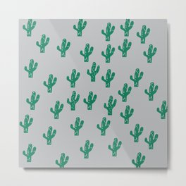 Preppy cactus random, green, pattern, design, minimal, grey, plants,fresh,mint,summer,mexico,hot Metal Print