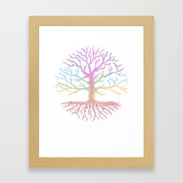 Rainbow Chakra Tree of Life - Real Stitch-able Color Coded Cross Stitch Chart Framed Art Print