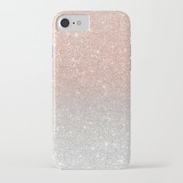 Modern trendy rose gold glitter ombre silver glitter iPhone Case