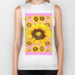 Pink Art Yellow Stylized Sunflowers Pattern Biker Tank