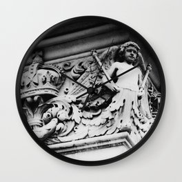 B/W Building Decoration Crown Angel Photo by Larry Simpson Wall Clock