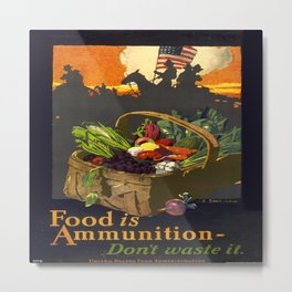 Vintage poster - Food is Ammunition Metal Print