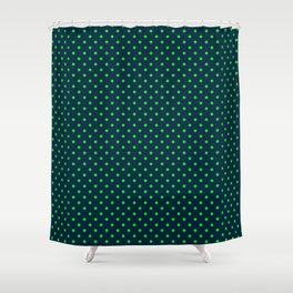 Mini Navy and Neon Lime Green Polka Dots Shower Curtain