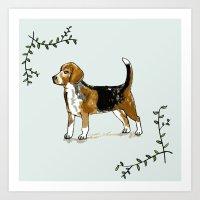 beagle Art Prints featuring Beagle by Rebecca Mcmillan