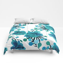 Turquoise Flower Delight Comforters