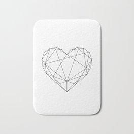 Geometric Heart Black Bath Mat