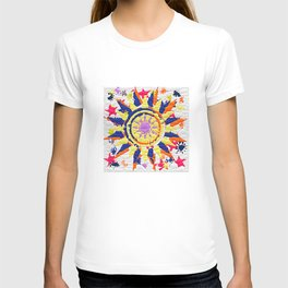 Colorful Quilted sun pattern Abstract T-shirt