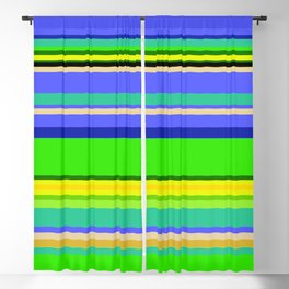 Color Stripes 2 - blue and green Blackout Curtain