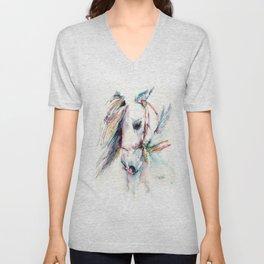 Fantasy white horse Unisex V-Neck