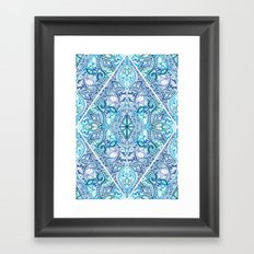 Blue and Teal Diamond Doodle Pattern Framed Art Print