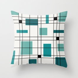 1950's Abstract Art Teal Throw Pillow