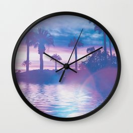 Tropical Paradise In Surreal Light Wall Clock