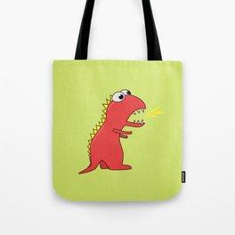 Cute Cartoon Dinosaur With Fire Breath Tote Bag