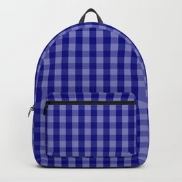 Navy Blue Gingham Check Plaid Pattern Backpack