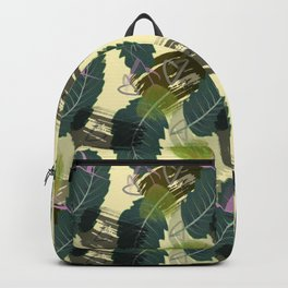 Tropical leaves and watercolor flowers. Backpack
