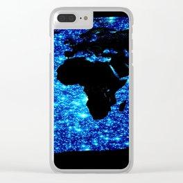 world MAP Blue Galaxy Stars Clear iPhone Case