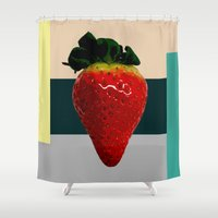 strawberry Shower Curtains featuring Strawberry by Aztec Pineapple