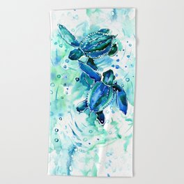 Turquoise Blue Sea Turtles in Ocean Beach Towel