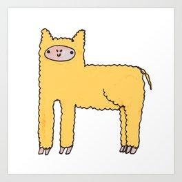 Yellow Cute Fluffy Alpaca Art Print