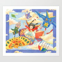 Girl on Kite Art Print