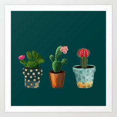 Three Cacti With Flowers On Green Background Art Print