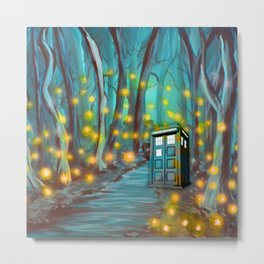 Tardis in the Glow Metal Print