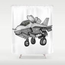 F35 Fighter Jet Airplane - F-35B Lighting II Joint Strike Fighter Cartoon Shower Curtain