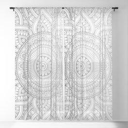 Silver Mandala Pattern Illustration Sheer Curtain