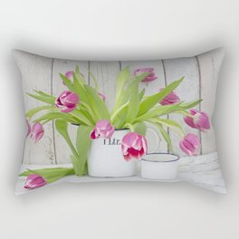 pink spring tulip still life country style Rectangular Pillow