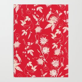 Red Passion Flowers Floral Pattern Poster