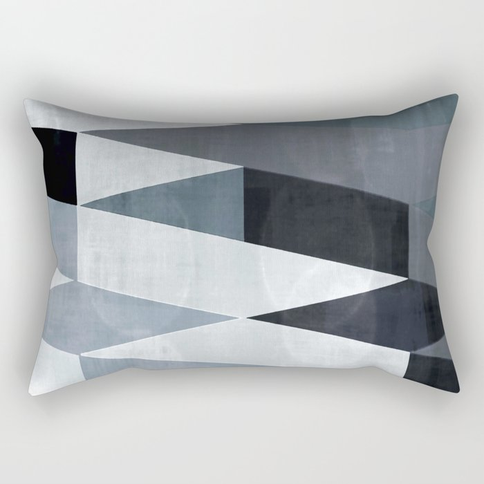 blue abstract, abstract art, office art, contemporary art, geometric print,  modern painting, mid cen Rectangular Pillow