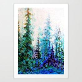 Mountain Landscape Pines In Blue-Greens-Purple Art Print