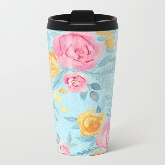 Chalk Pastel Pink & Orange Roses on Sky Blue Metal Travel Mug
