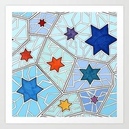 Hanukkah Stars of David Mosaic in Light Blues Art Print