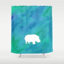 hippo cutout Shower Curtain