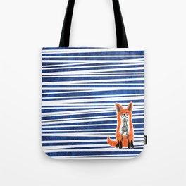 Happy Fox Blue Leaves Tote Bag