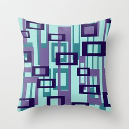 Geometric rectangles pattern violet Throw Pillow