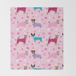 Terriers fox terrier jack russell terrier dog breed art pattern pajamas for dogs Throw Blanket