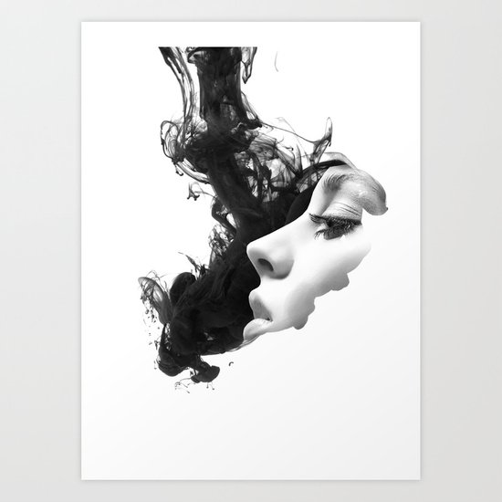 Smoke & woman Art Print