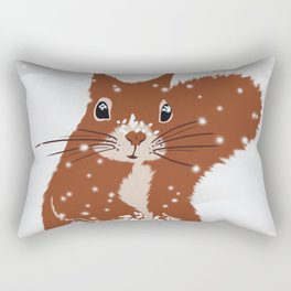 Red squirrel in the winter snow with white snowflakes cute home decor nursery drawing Rectangular Pillow