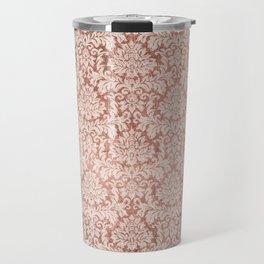 Vintage white faux rose gold elegant floral damask Travel Mug