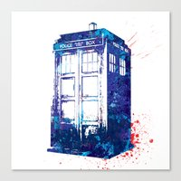 tardis Canvas Prints featuring Tardis by lauramaahs