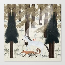 the fox and unicorn Canvas Print