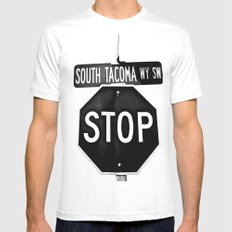 South Tacoma Stop Mens Fitted Tee MEDIUM White