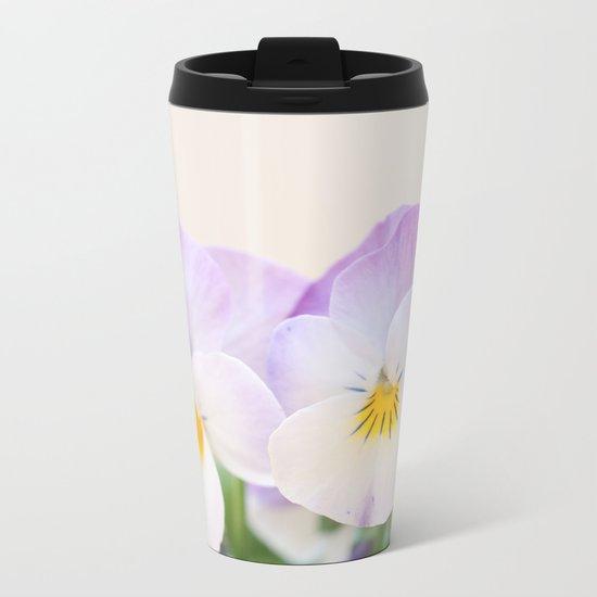 Spring Love #1 - Soft violet-white Pansies #decor #art #society6 Metal Travel Mug